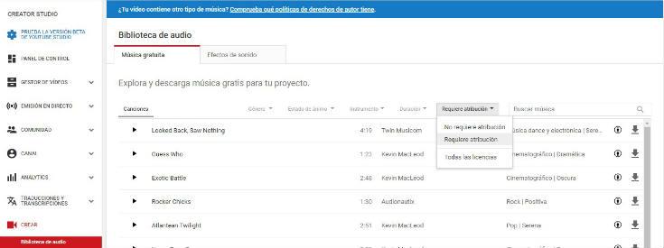 Biblioteca de audio de YouTube